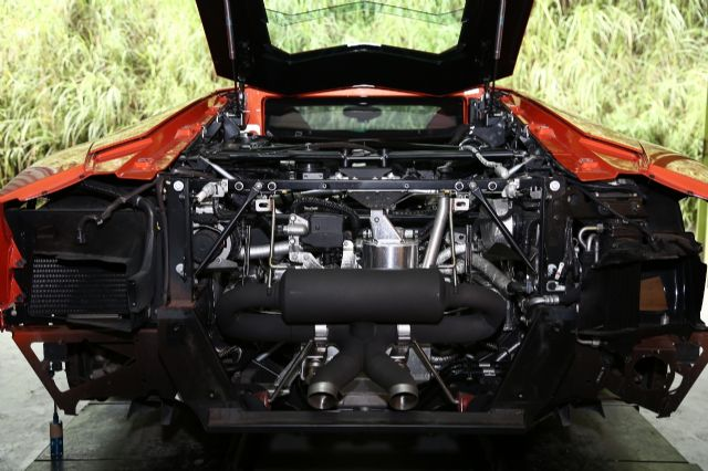 A Lamborghini equipped with iPE's top-end performance exhaust system.