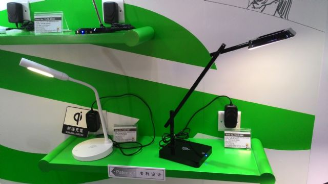 Wireless mobile-phone charging table lamps from Home Resource.