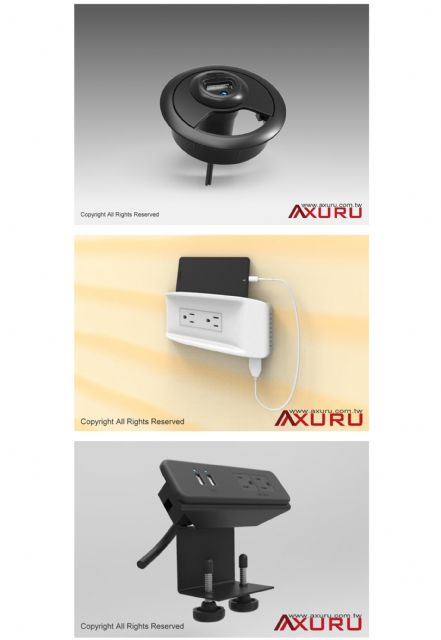 Axuru Technology designs USB chargers that are integrated and   attached to desks.