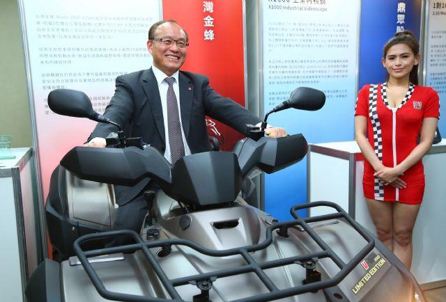 Huang rides on the Gold-award winning item, TGB 1,000cc ATV.