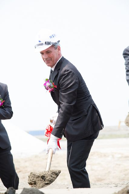vanBaerle's CEO-cum-owner Daniel Schenk was present in the ground-breaking ceremony held in Taichugn Port in late March for the planned silicate plant in Taiwan.