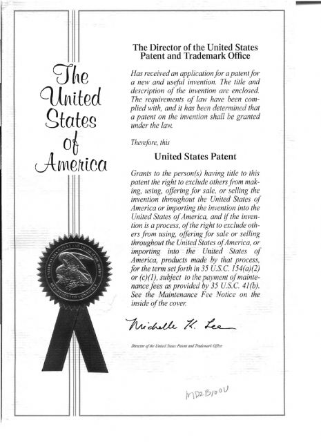 Jenp Jou's patent certificate granted by the United States Patent and Trademark Office for its MD2B100U caster.