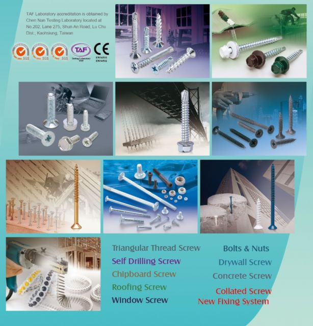 Caption: Ray Fu supplies a broad array of fasteners including self-drilling screws, chipboard screws, roofing screws, etc.