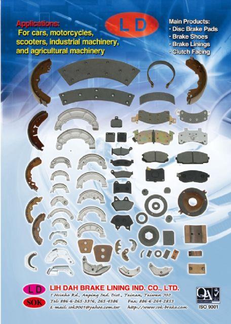 Lih Dah supplies a variety of brake pads, brake linings, brake shoes.