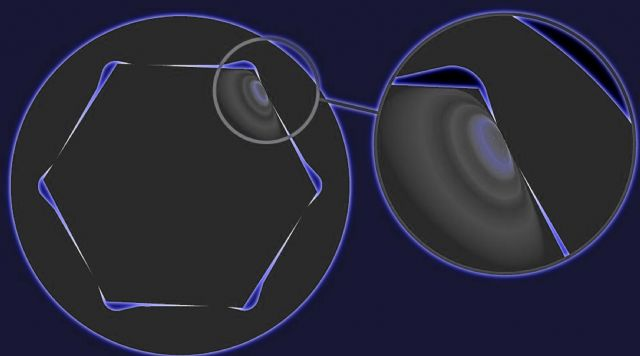 "The computer-aided simulation shows that ""An-Lo Drive"" is improved to turn a nut with torque exerted through the flats (photo courtesy of Hans Tool)."