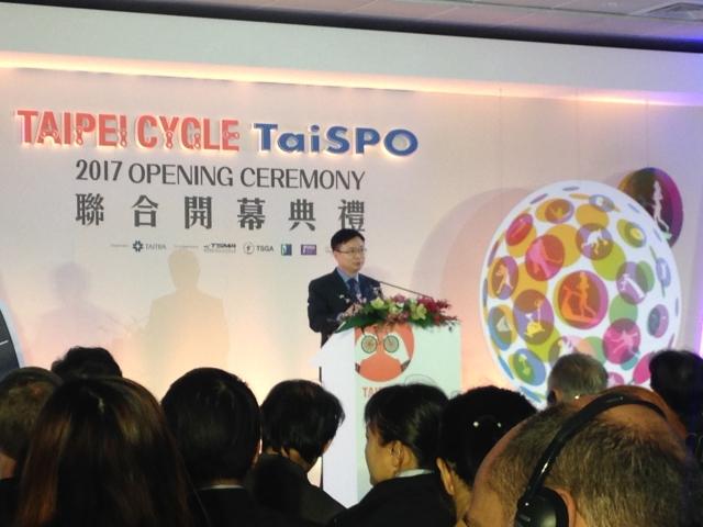 外貿協會董事長黃志芳於第30屆台北國際自行車展暨2017台北國際體育用品展聯合開幕會上致詞。