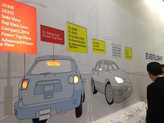 億光主打車用外裝照明,今年展出滿足各種應用的LED元件。