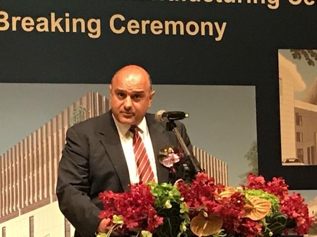 應材資深副總裁阿里.沙勒普爾主持台南製造中心動土典禮,宣布加碼投資台灣。記者李珣瑛/攝影