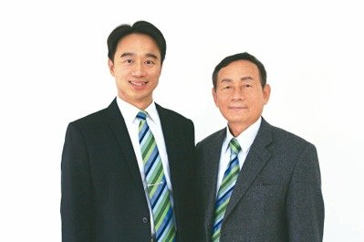 Wang Jun-xian (left), the new chairman of Fu Chun Shin. (photo provided by EDN.com)