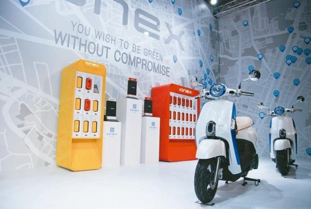 光陽這套ionex採開放式系統平台,只要電池規格大小相同,可開放給其他業者一起使用。 記者林鼎智╱攝影
