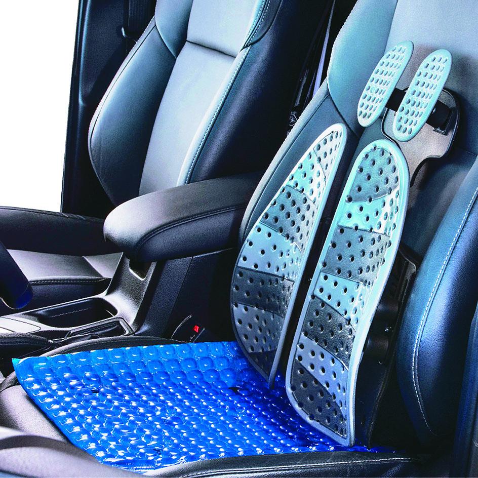 汽車座椅靠墊,人體工學護腰墊,易安裝不脫落。(崴隆科技/提供)