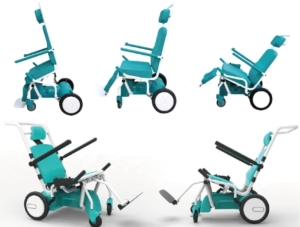 The multifunctional reclining wheelchair developed by FRT and its partners for older adults (photo courtesy of FRT).