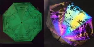 吉使達的可集彩虹反光、發(夜)光和變圖效果三合一技術運用在雨傘布料。(吉使達提供)