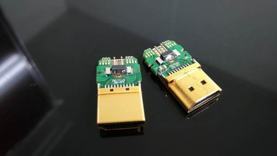 聯葳光電研發新技術 打造全世界第一條符合8K規格的HDMI傳輸線。 聯崴光電/提供