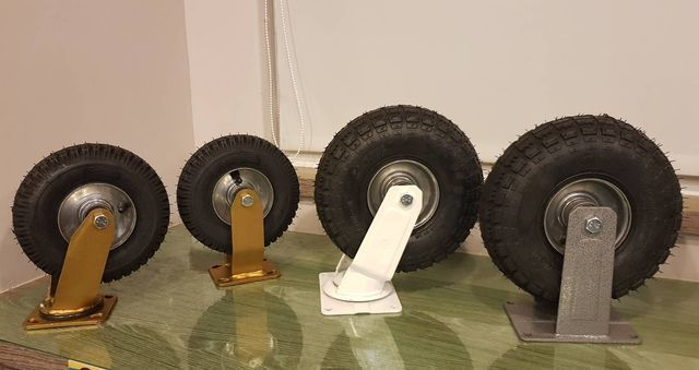 腳輪的另一個巔峰之作-「無內胎可充氣式高速輪」,採用高彈力耐壓橡膠,無內胎構造,耐壓、耐重、耐磨。 李福忠/攝影