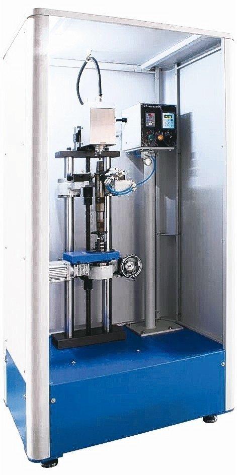 久昇公司新推出採用變頻內藏式高速主軸設計的中心孔研磨機,定位精準且可快速研磨。 久昇公司/提供