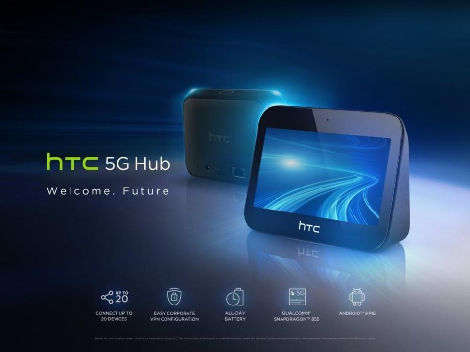 HTC(宏達電)今天展出HTC最新首款5G mobile smart hub。圖/宏達電提供