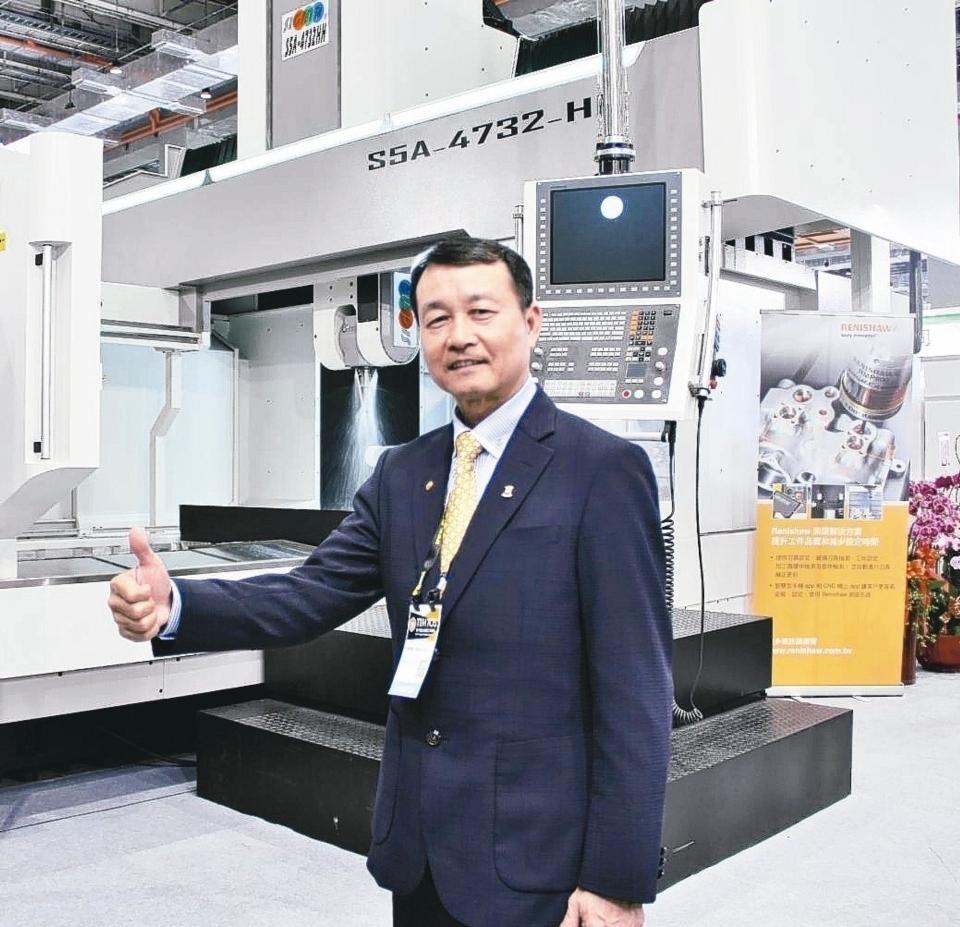 新穎機械董事長莊茂賓表示,獲獎的高精度大型CNC五軸加工中心機S5A-4732HH,是專為加工鈦合金、鎳基合金及高韌性難切削材料設計。 戴辰/攝影