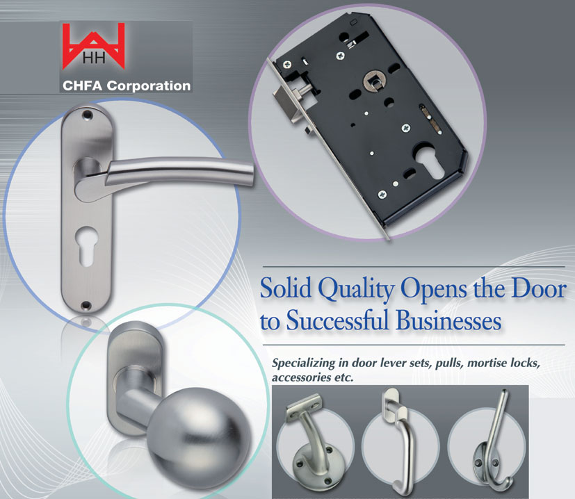 CHFA offers an array of high-quality door lever sets, pulls, mortise locks and ac- cessories. (photo provided by CHFA Corp.)