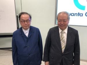 廣達董事長林百里(左)與副董事長暨總經理梁次震。記者蕭君暉/攝影