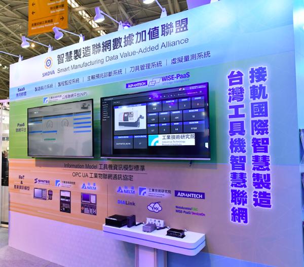 由工研院連結產學能量組成的智慧製造聯網數據加值聯盟,透過打團體戰方式搶攻國際市場,這次展出工研院NIP平台和研華Wise Paas平台等聯盟推動智慧製造聯網成果。
