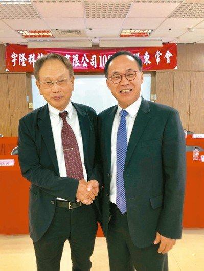 宇隆科技董事長劉俊昌(右)與程泰集團董事長楊德華宣布強強結盟,未來雙方將共同研發生產設備、降低生產成本,共創雙贏。 記者宋健生/攝影