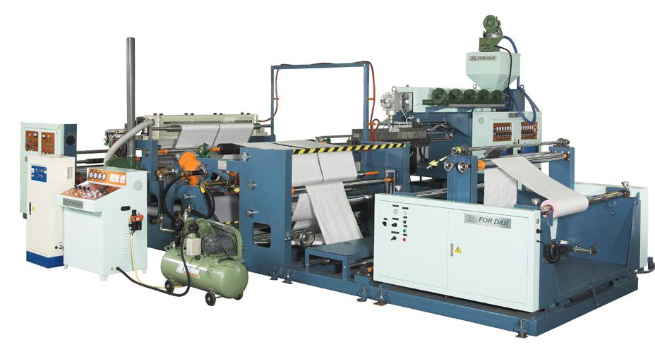 This series of lamination machine is suitable for lamination operation on Kraft paper and woven bag with extremely high output, easy operation and minimum trouble. (photo courtesy of For- Dah)