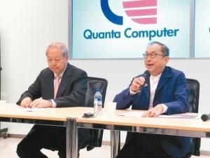 廣達董事長林百里(右)與副董事長暨總經理梁次震。 記者蕭君暉╱攝影