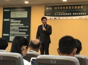 交通部长林佳龙今天出席「2019第六届国际绿色智慧交通论坛」。记者曹悦华/摄影