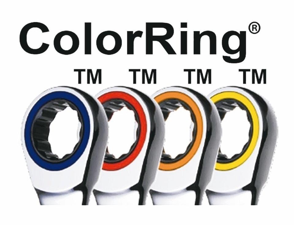 章隆公司將紅、藍、黃、橙色環形商標運用於各式扳手頭部飾環之固定位置,以表達製造來源為章隆公司。 章隆公司/提供