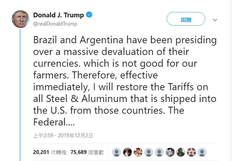Trump to hit Brazil and Argentina with steel and aluminium tariffs
