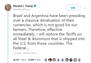 Trump reimpose tariffs on imports of steel and aluminium from Brazil and Argentina </h2>