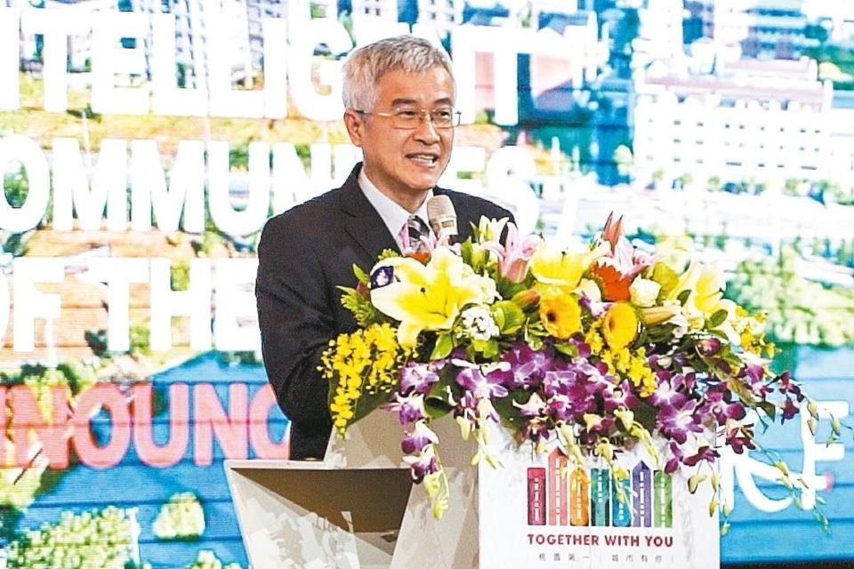桃園市政府副市長李憲明於2020 ICF TOP7宣布晚宴代表主辦城市致詞。 曹松清/攝影