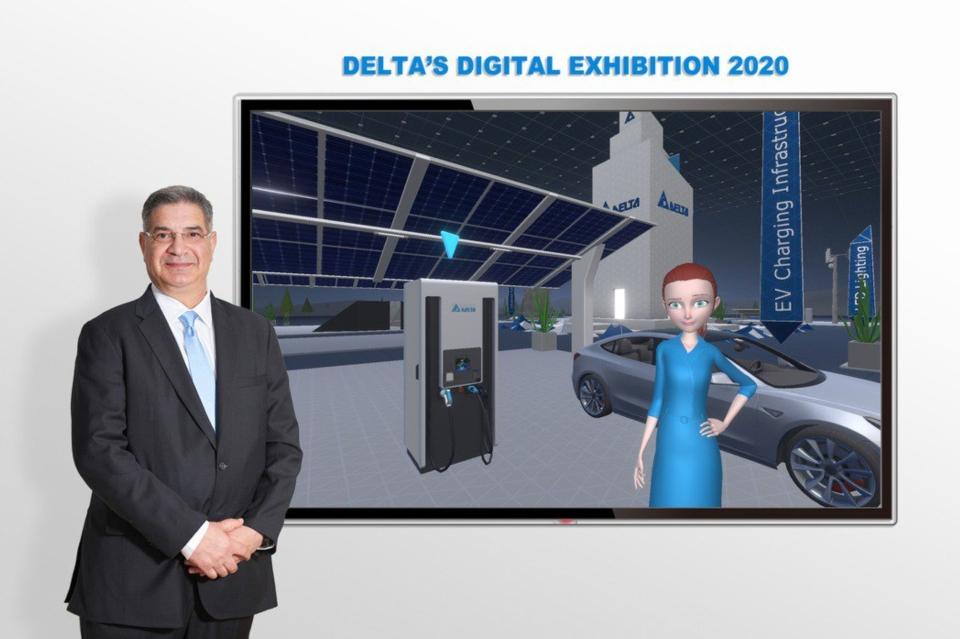 台達歐洲、中東及非洲(EMEA)區總經理Dalip Sharma分享此次數位線上展覽的亮點產品。 圖/台達提供