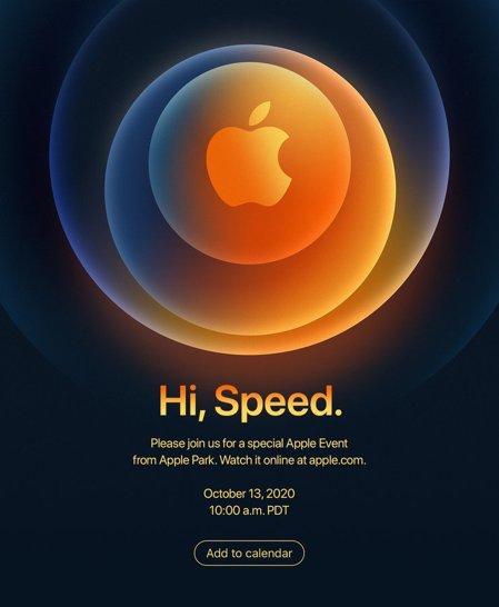 蘋果將於美國時間13日舉行線上新品發表會,邀請函上寫著「嗨,速度」(Hi, Speed),暗示蘋果即將發表5G版iPhone的傳言可能為真。(網路照片)