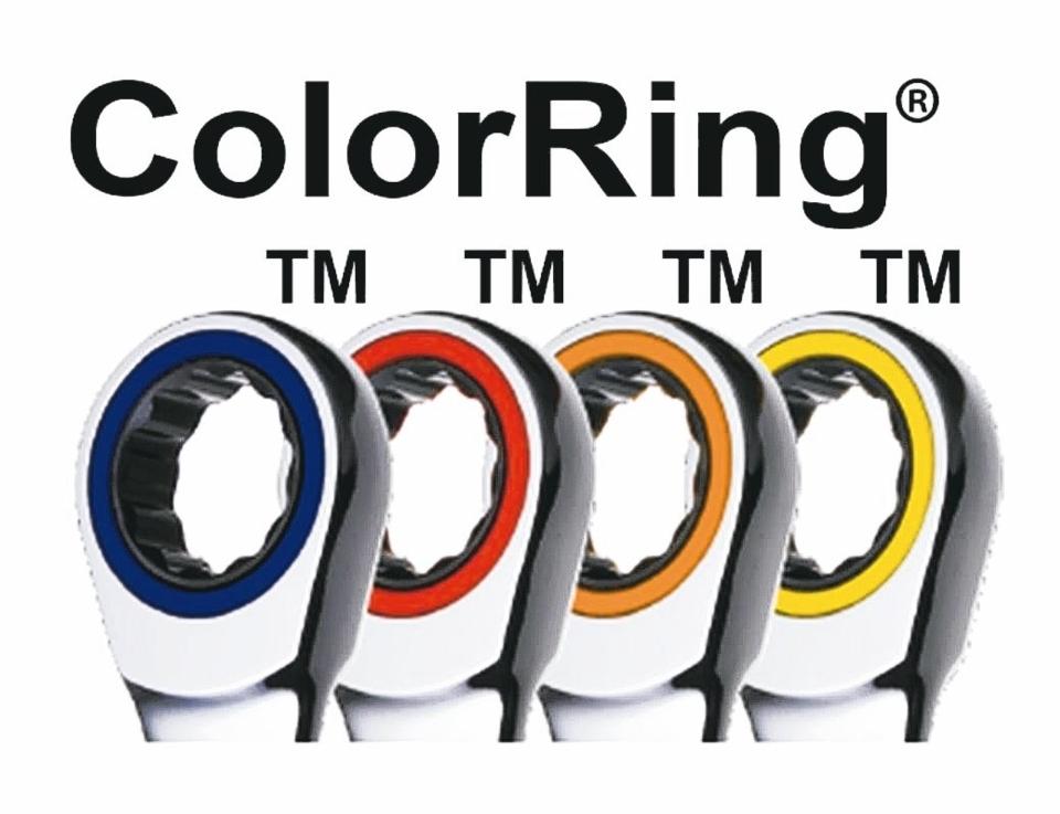 章隆公司從2004年開始,將扳手結合多種色環,讓買家購買棘輪扳手產品時,標識紅色、藍色、黃色和橙色的彩色環商標。(章隆/提供)