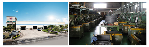 Shin Chun`s company building and factory production line, as shown in the photo.