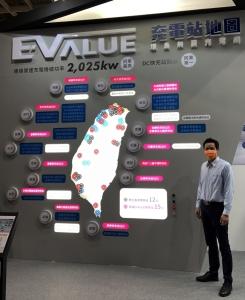 華城電機於AMPA展展示全台充電站網絡圖 (攝影/劉秀娟)