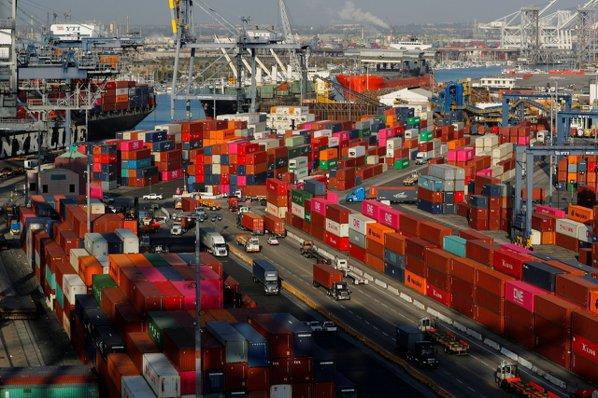 圖為美國洛杉磯港,圖檔來源:聯合報系/路透