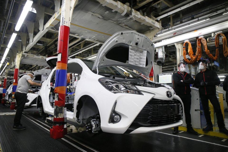 豐田(Toyota)在內的全球多家汽車廠,都因晶片荒宣布暫停部分生產線。 圖檔來源:聯合報系/美聯社