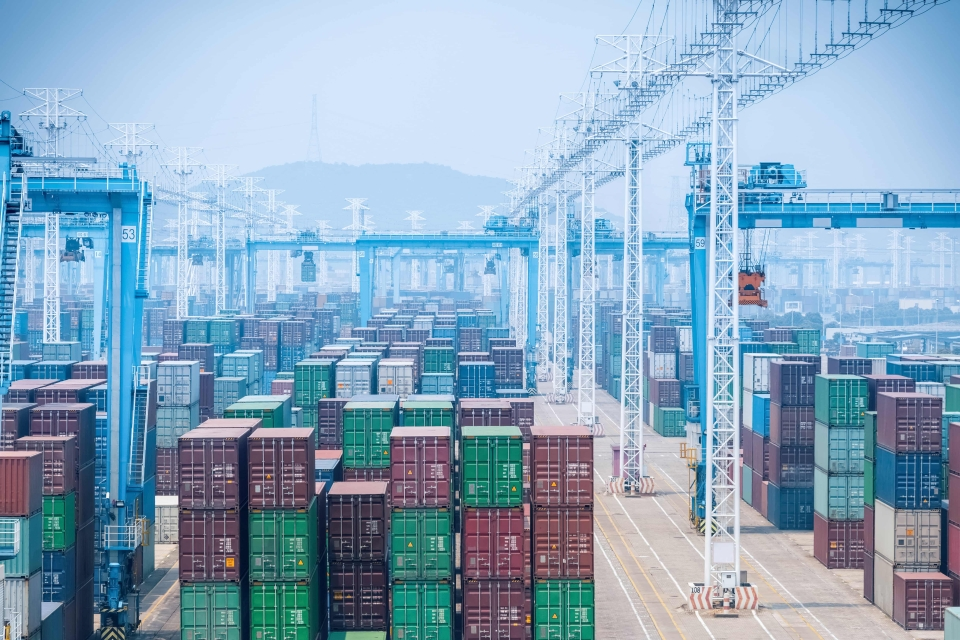 A stock photo of the container yard in Port of Ningbo-Zhoushan.