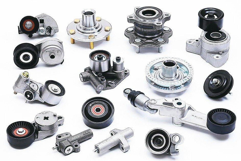 銘崙公司生產的輪毂軸承及皮帶張緊器。銘崙企業/提供