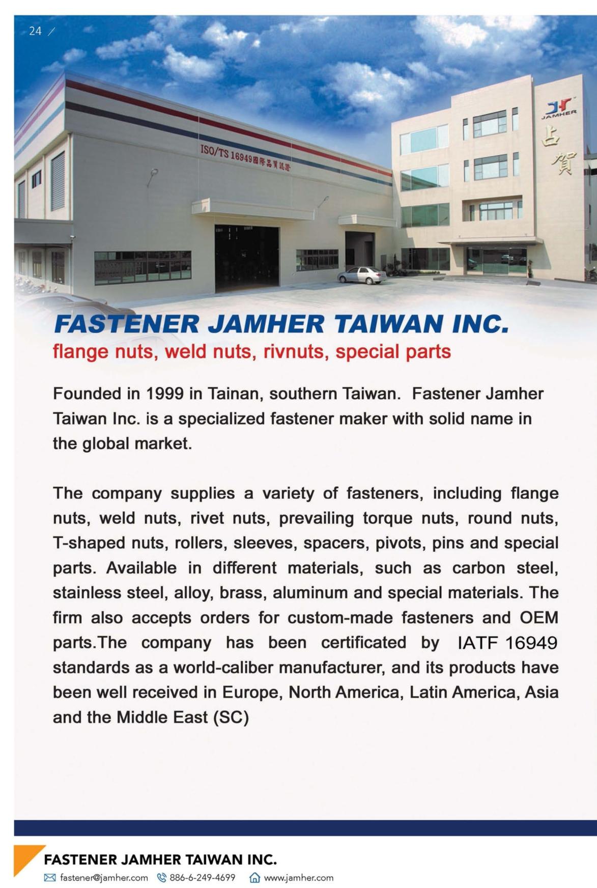 Fasteners E-Magazine FASTENER JAMHER TAIWAN INC.