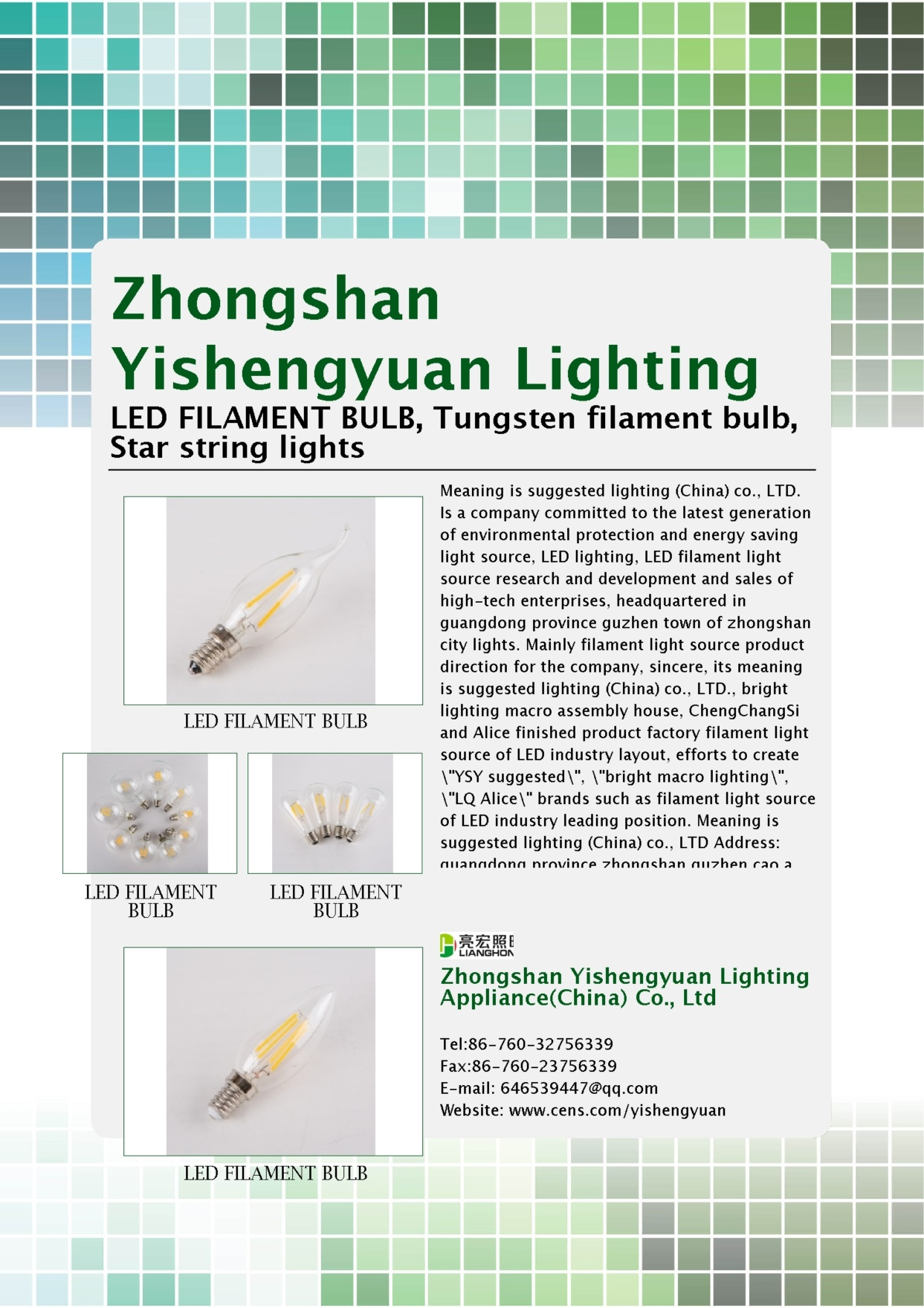 ZHONGSHAN YISHENGYUAN LIGHTING APPLIANCE(CHINA) CO., LTD