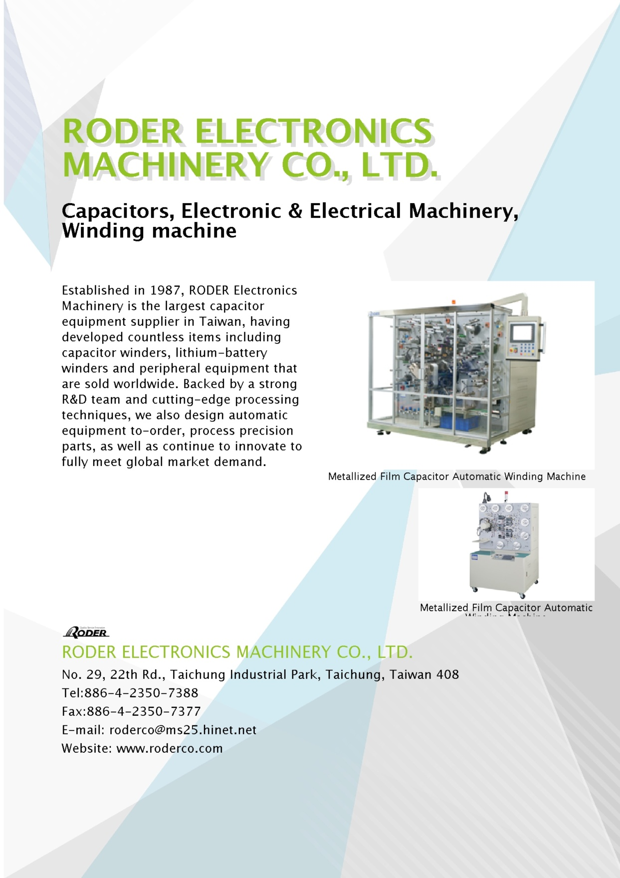 RODER ELECTRONICS MACHINERY CO., LTD.