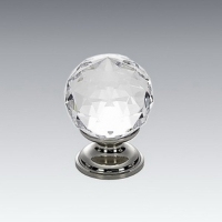 Crystal Knob with Brass Base