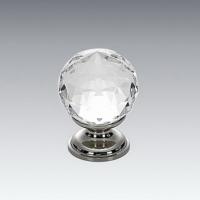 Crystal Knob with Brass Base