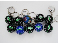 28MM sliding ball keyring compass in blue and black color