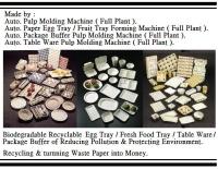 Auto. Fresh Food Tray Pulp Molding Machine ( Full Plant ).