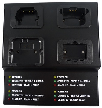 FOUR-STATION TRI-CHEMISTRY RAPID BATTERY CHARGER WITH MICROPROCESSOR / IC CONTROL